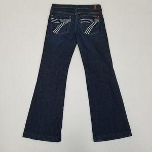 7FAM dojo trouser jean. Dark wash white 7